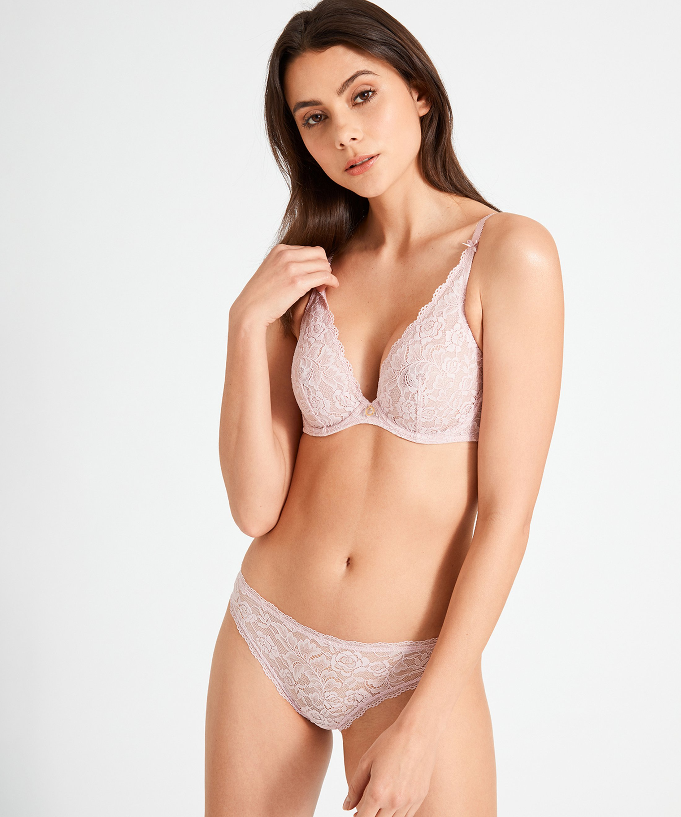 ROSESSENCE Triangle plunge bra Powder Pink | Aubade