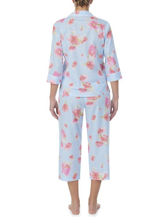 LAUREN BY RALPH LAUREN Classic Wovens Durchgeknöpfter Pyjama, 3/4-Ärmel
