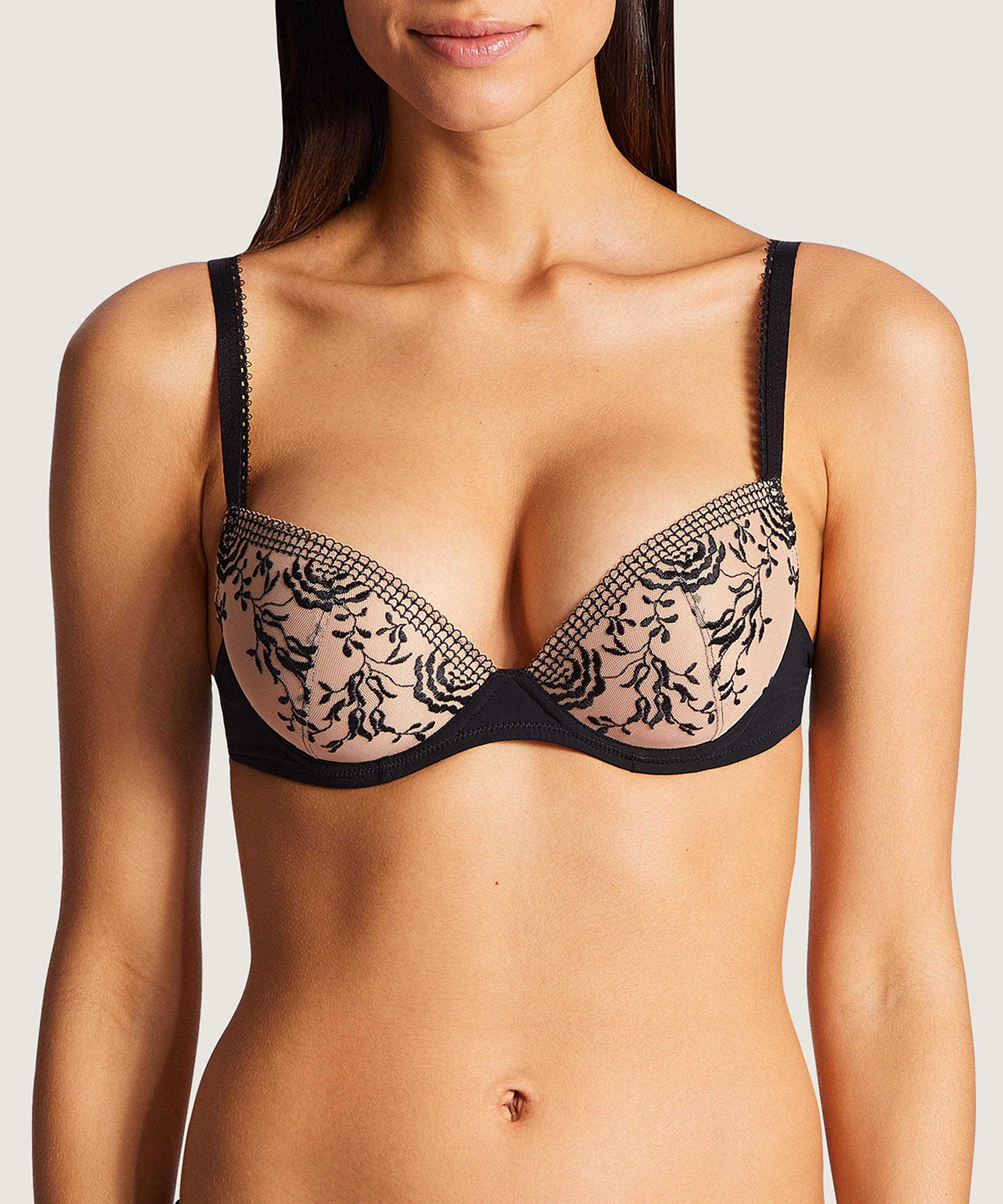 FLEUR DE PASSION Moulded push-up bra Black | Aubade