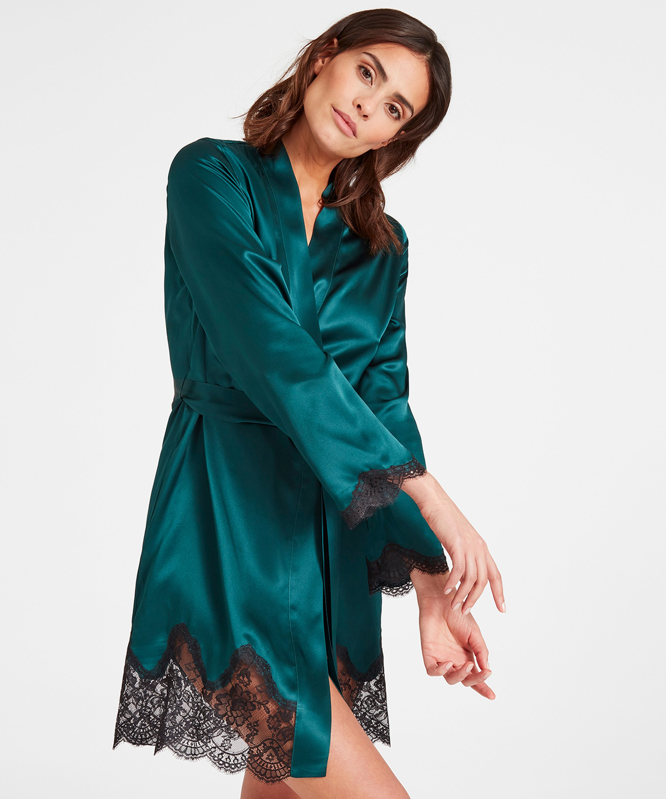 TOI MON AMOUR Kimono en soie Emeraude | Aubade
