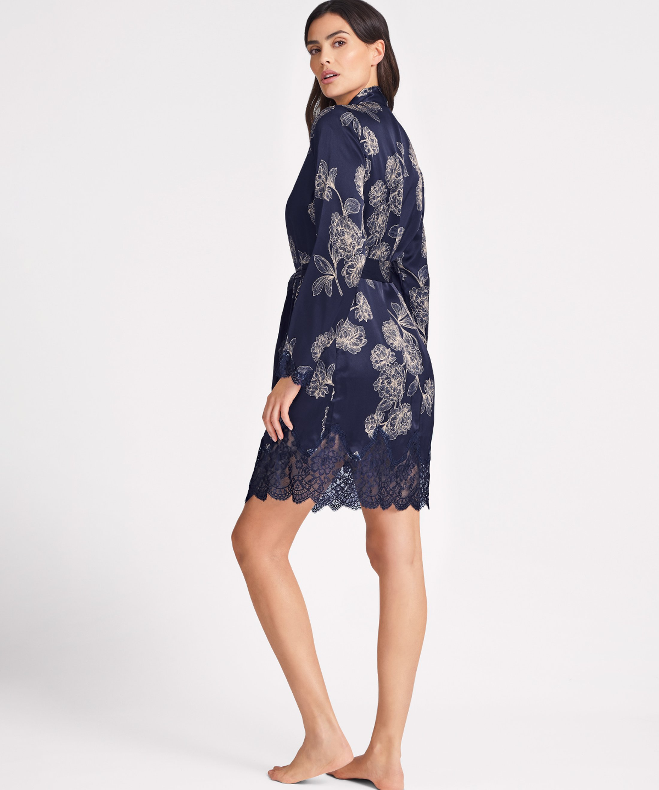 TOI MON AMOUR Kimono en soie Bleu Night | Aubade