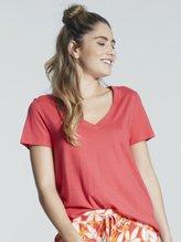 HANRO Sleep & Lounge Kurzarm-Shirt, V-Ausschnitt