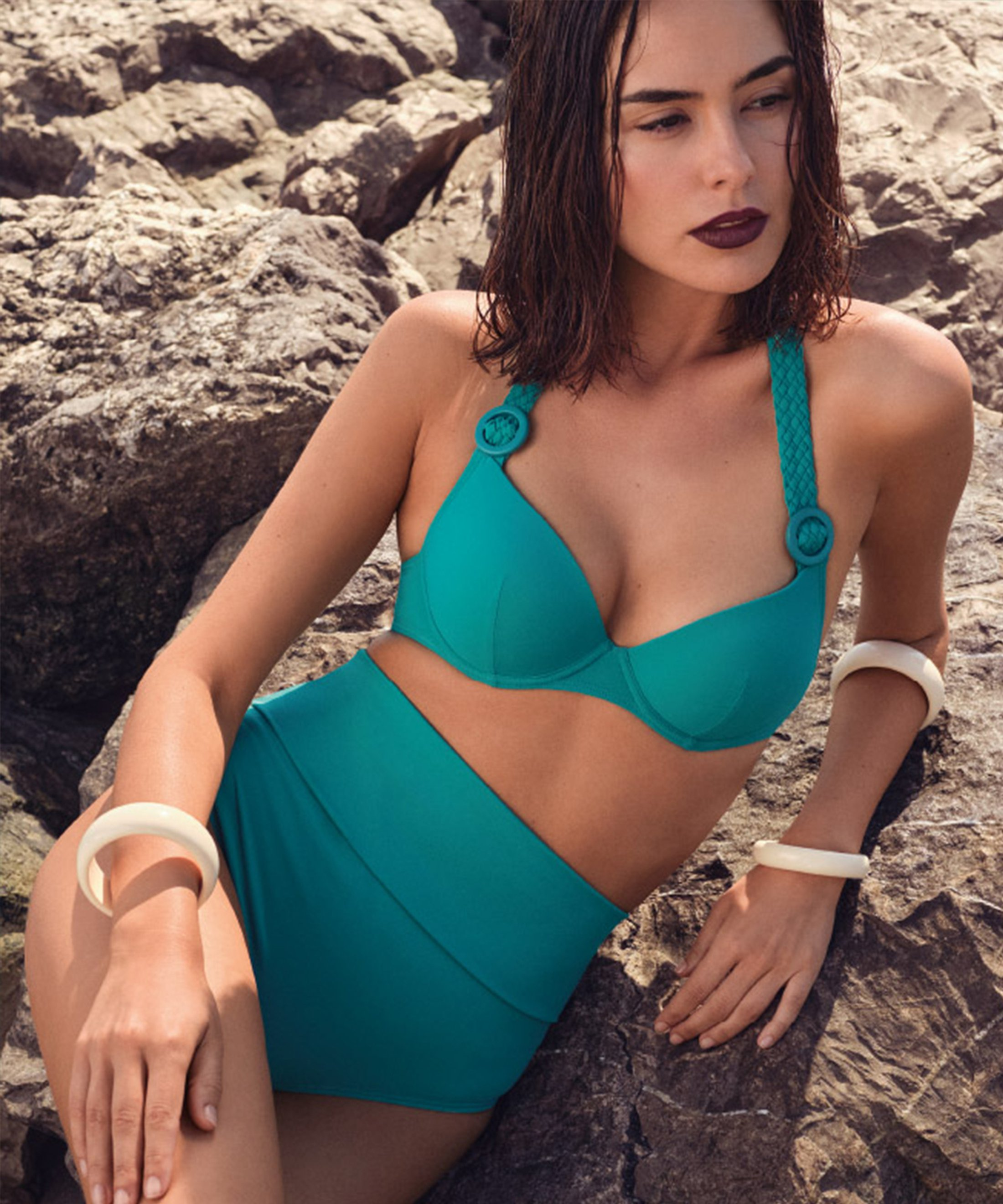LA PLAGE ENSOLEILLÉE Moulded push-up bikini top Mineral Green | Aubade