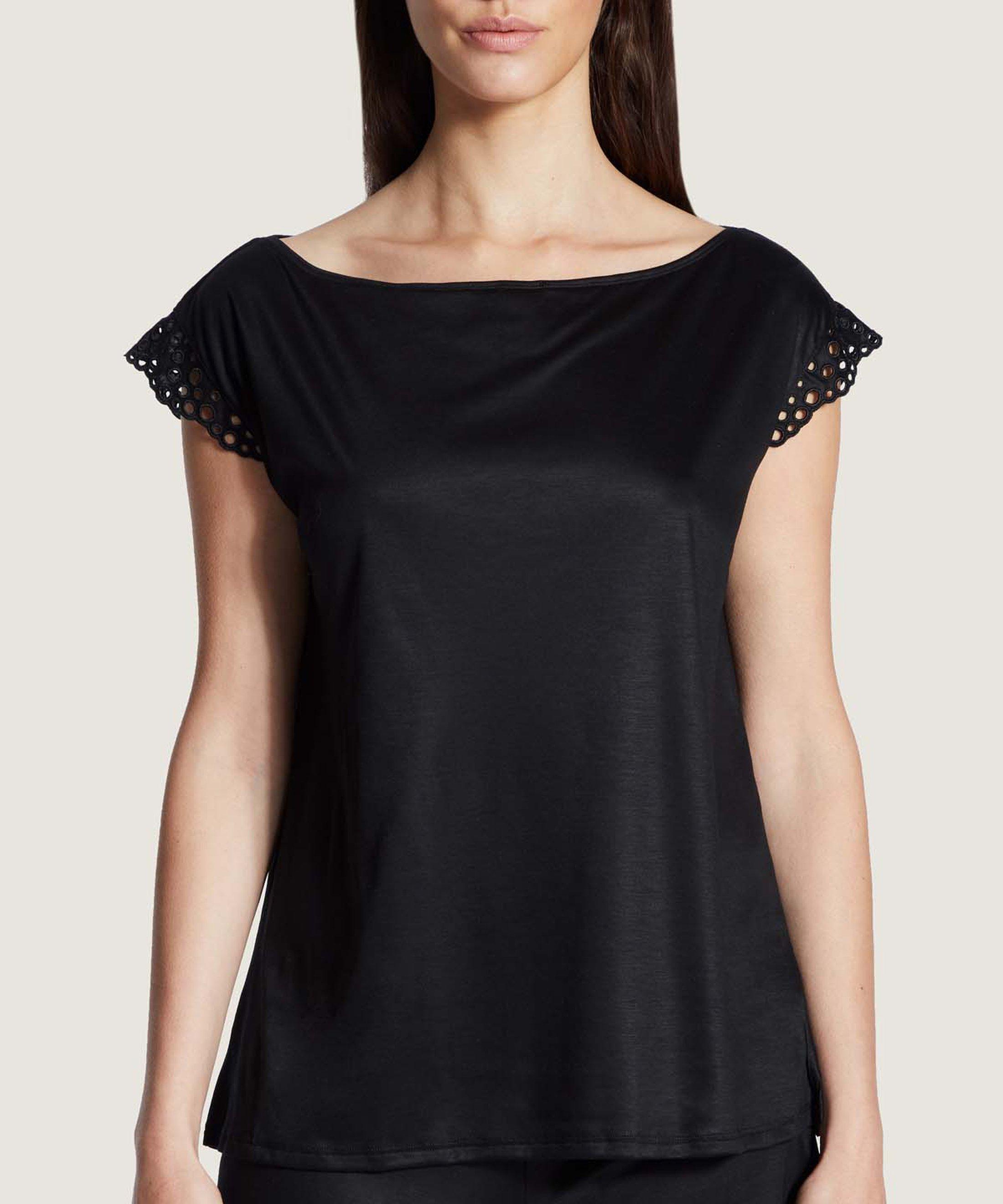 BULLE DE DOUCEUR Tencel sleeves top Black | Aubade