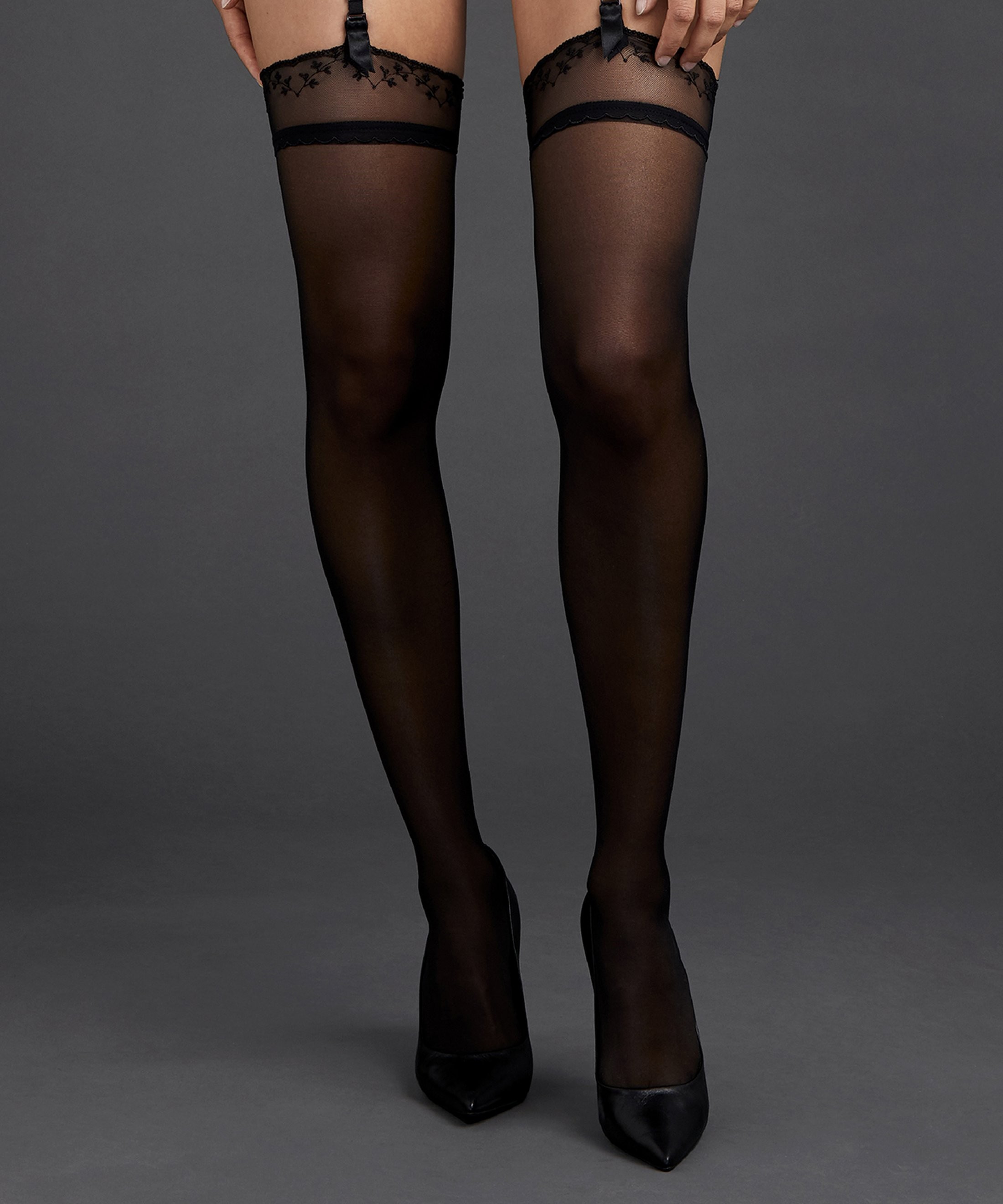 ART OF INK Garter stockings Icone Black | Aubade
