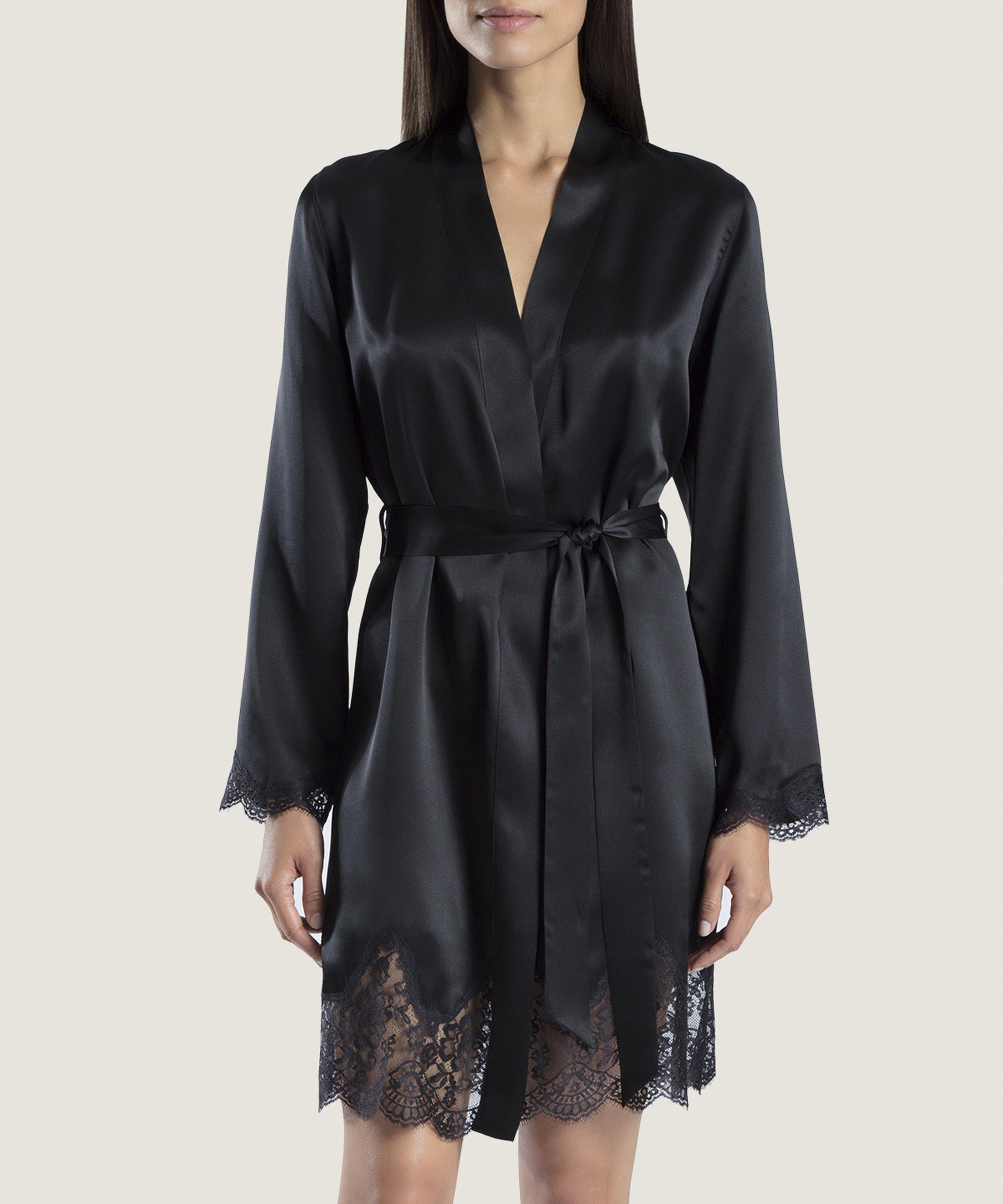 SOIE D'AMOUR Kimono en soie Noir | Aubade