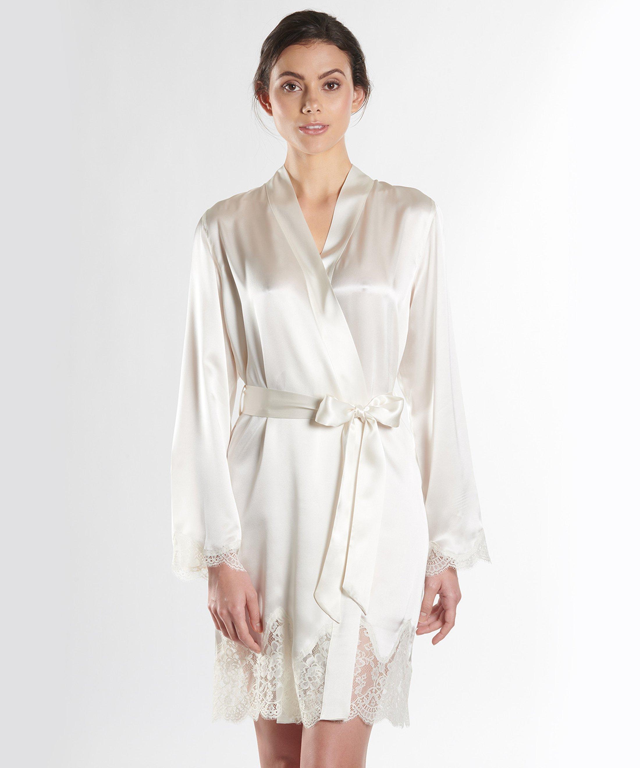 SOIE D'AMOUR Kimono en soie Nacre | Aubade