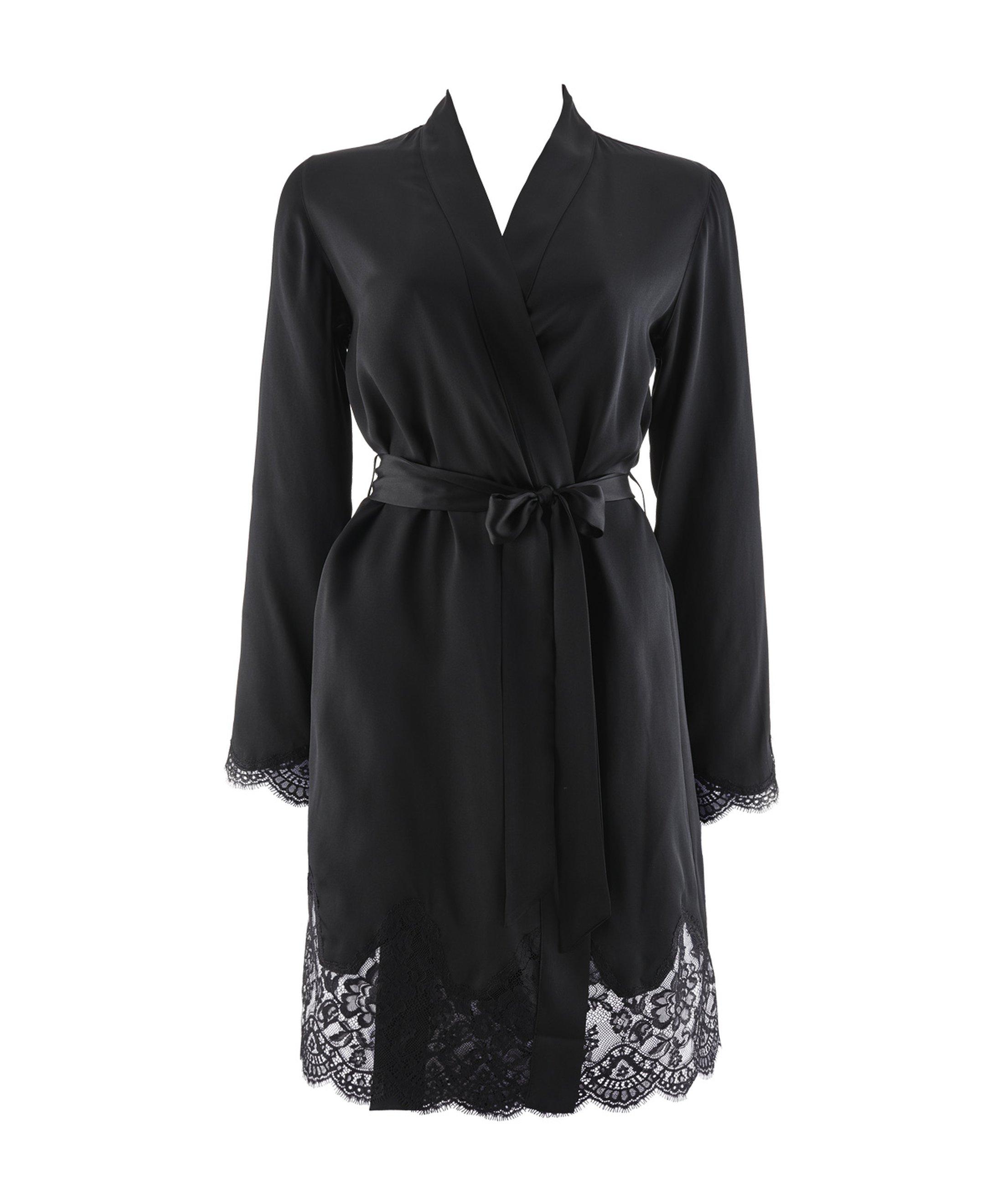 TOI MON AMOUR Kimono en soie Noir | Aubade