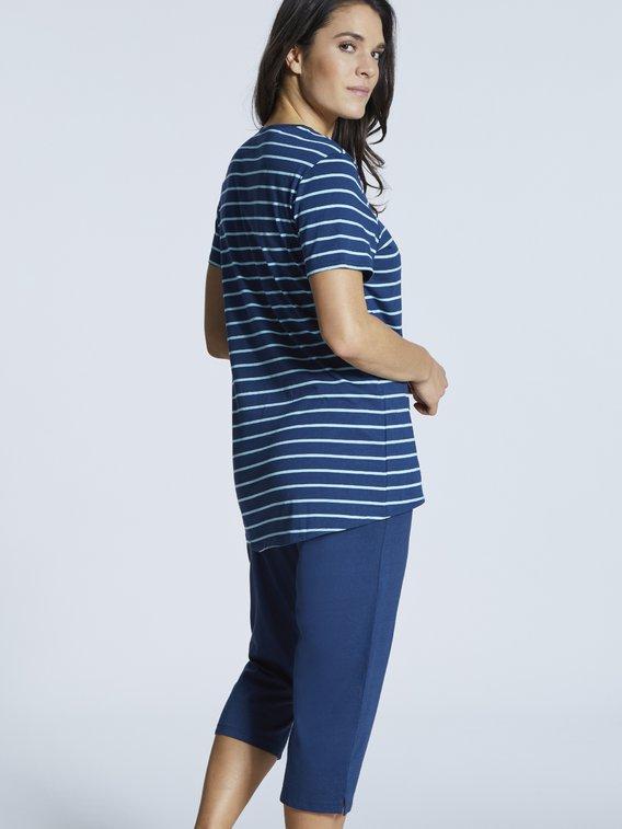 SCHIESSER Sportive Stripes Capri-Pyjama