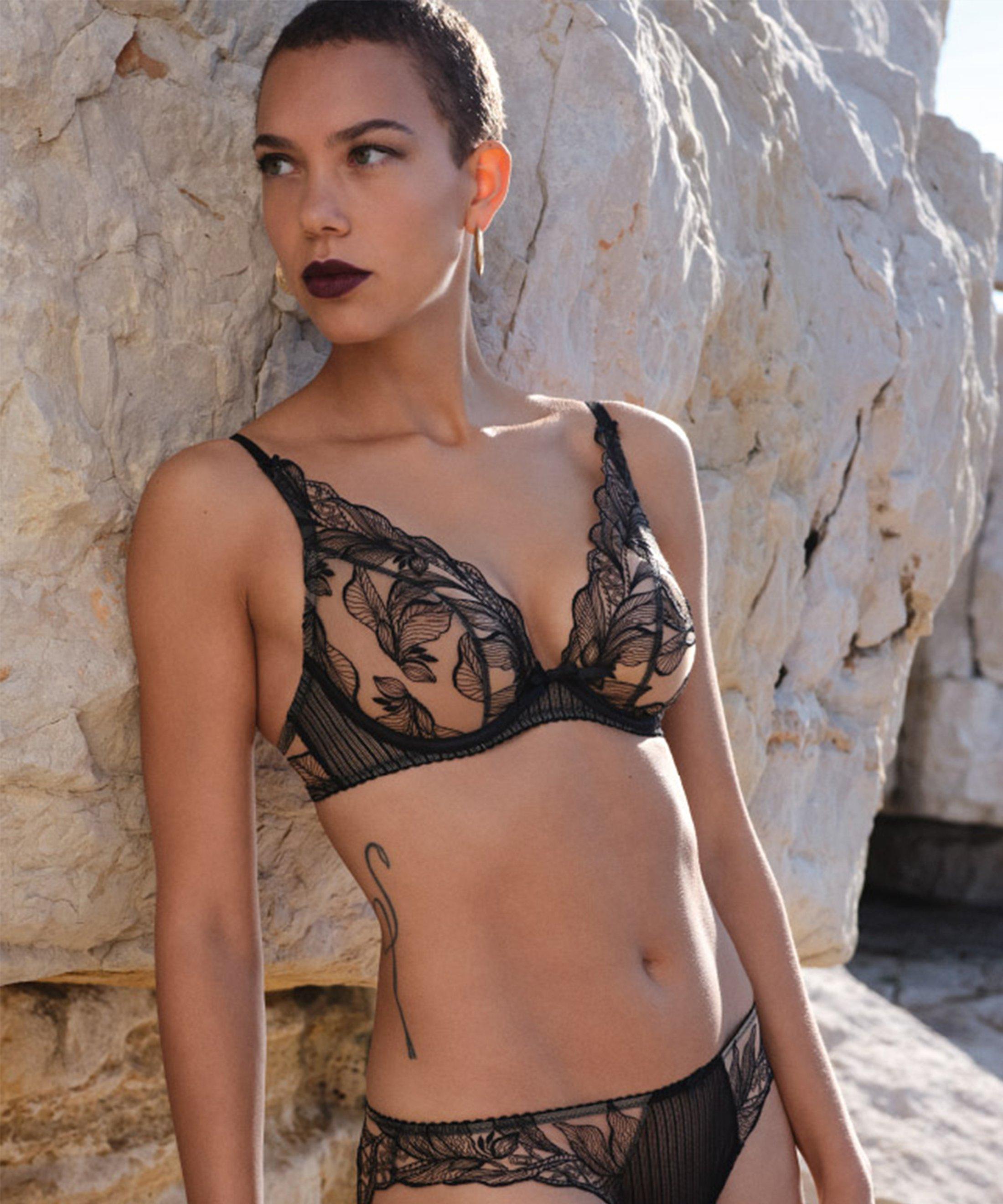 FLEUR DE TATTOO Soutien-gorge triangle avec armatures Encre Noire | Aubade