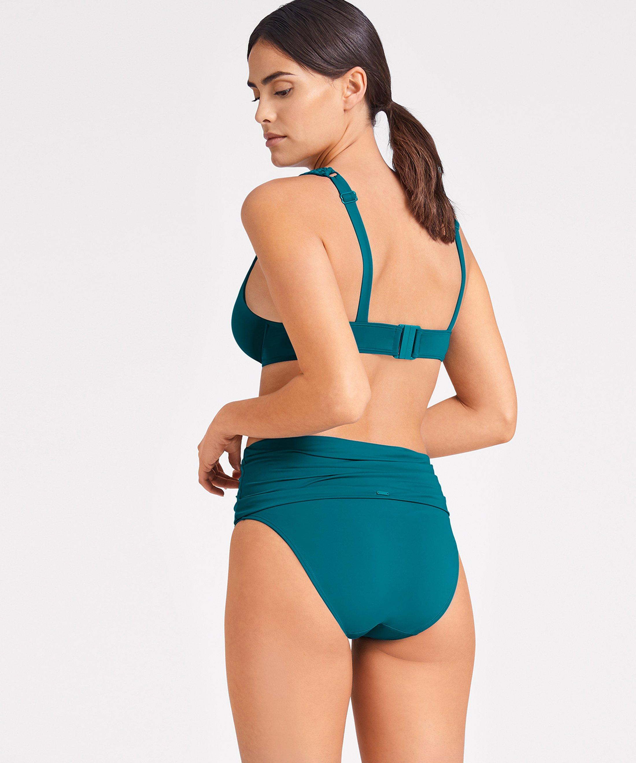 LA PLAGE ENSOLEILLÉE Haut de maillot de bain triangle plunge Vert Mineral | Aubade