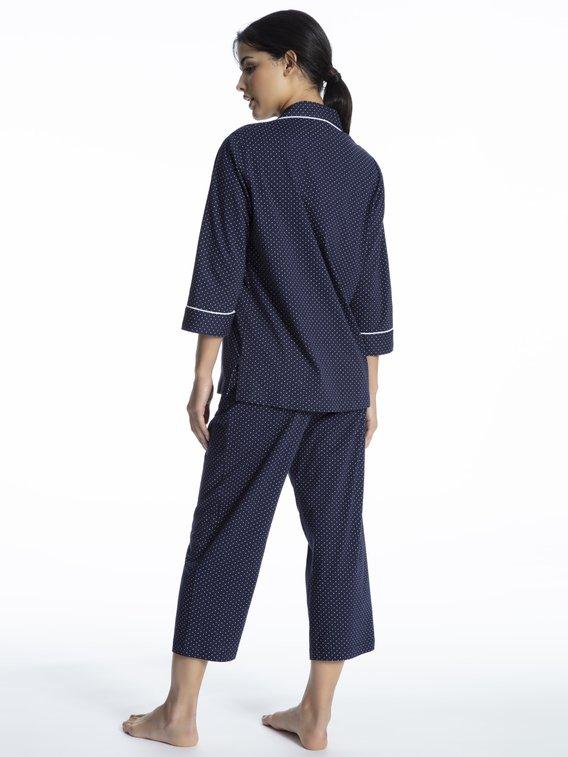 LAUREN BY RALPH LAUREN Heritage Knits Capri-Pyjama, durchgeknöpft
