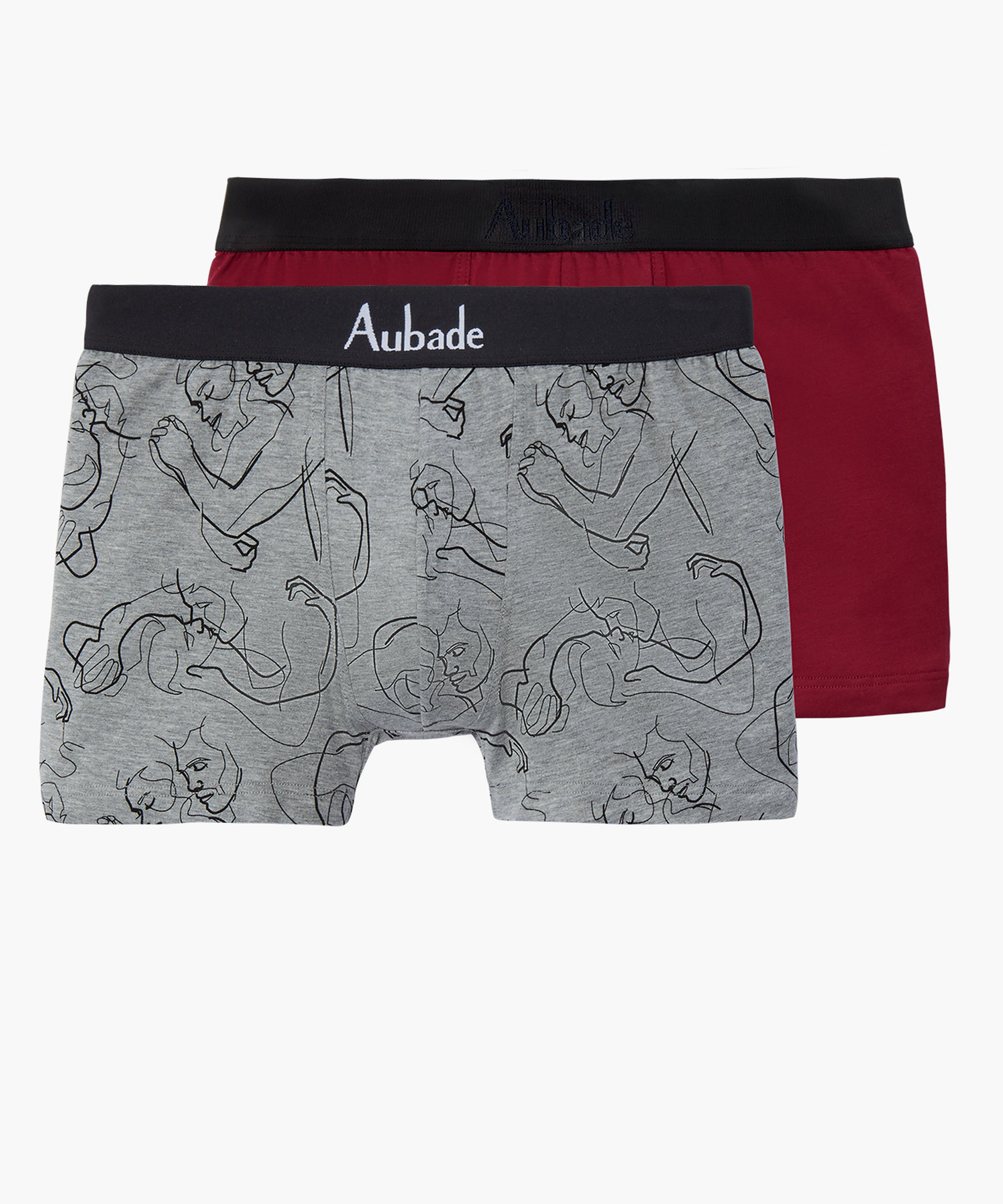 AUBADE HOMME Pack zwei Herrenboxer Rot Love und Rot Bordeaux | Aubade