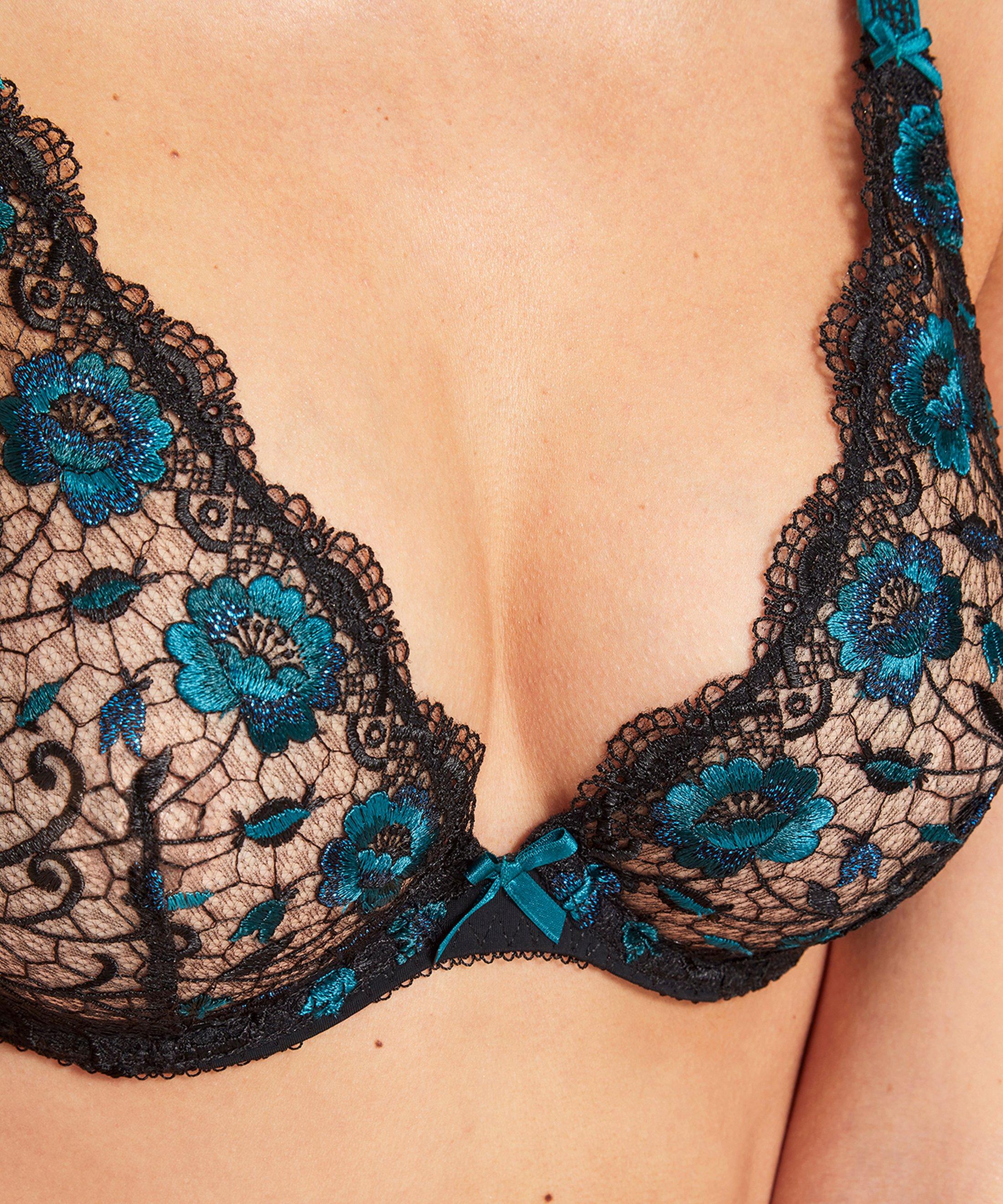 FIÈVRE ANDALOUSE Plunge triangle bra Black Lapis-Lazuli | Aubade