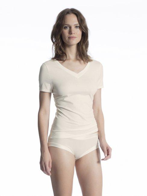CALIDA Cate Kurzarm-Shirt mit V-Ausschnitt