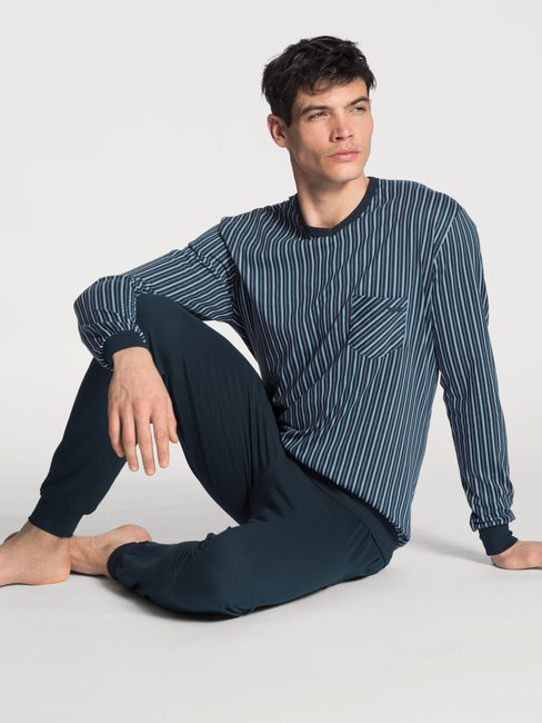 CALIDA Relax Imprint Basic Bündchen-Pyjama