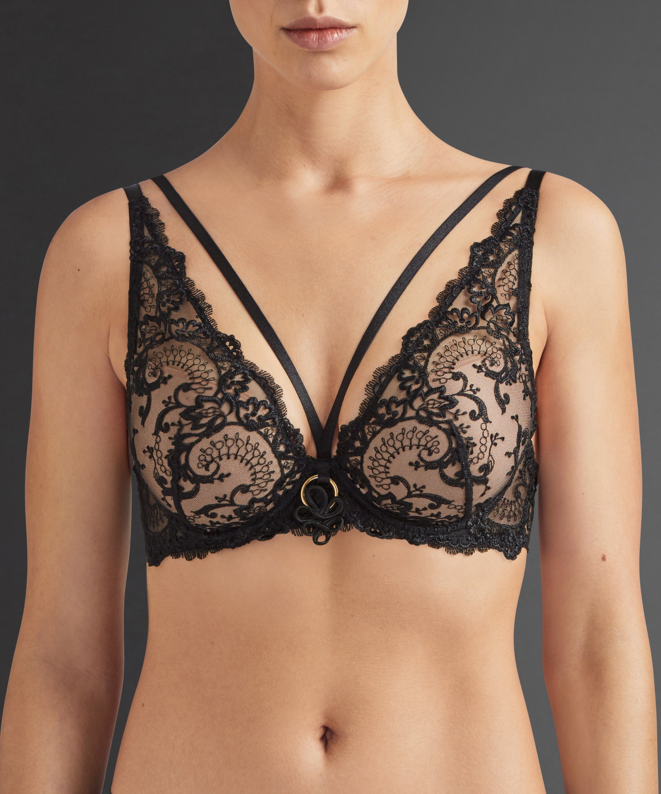 LA REINE DE LA NUIT Scarf push-up bra Lyrique Black | Aubade