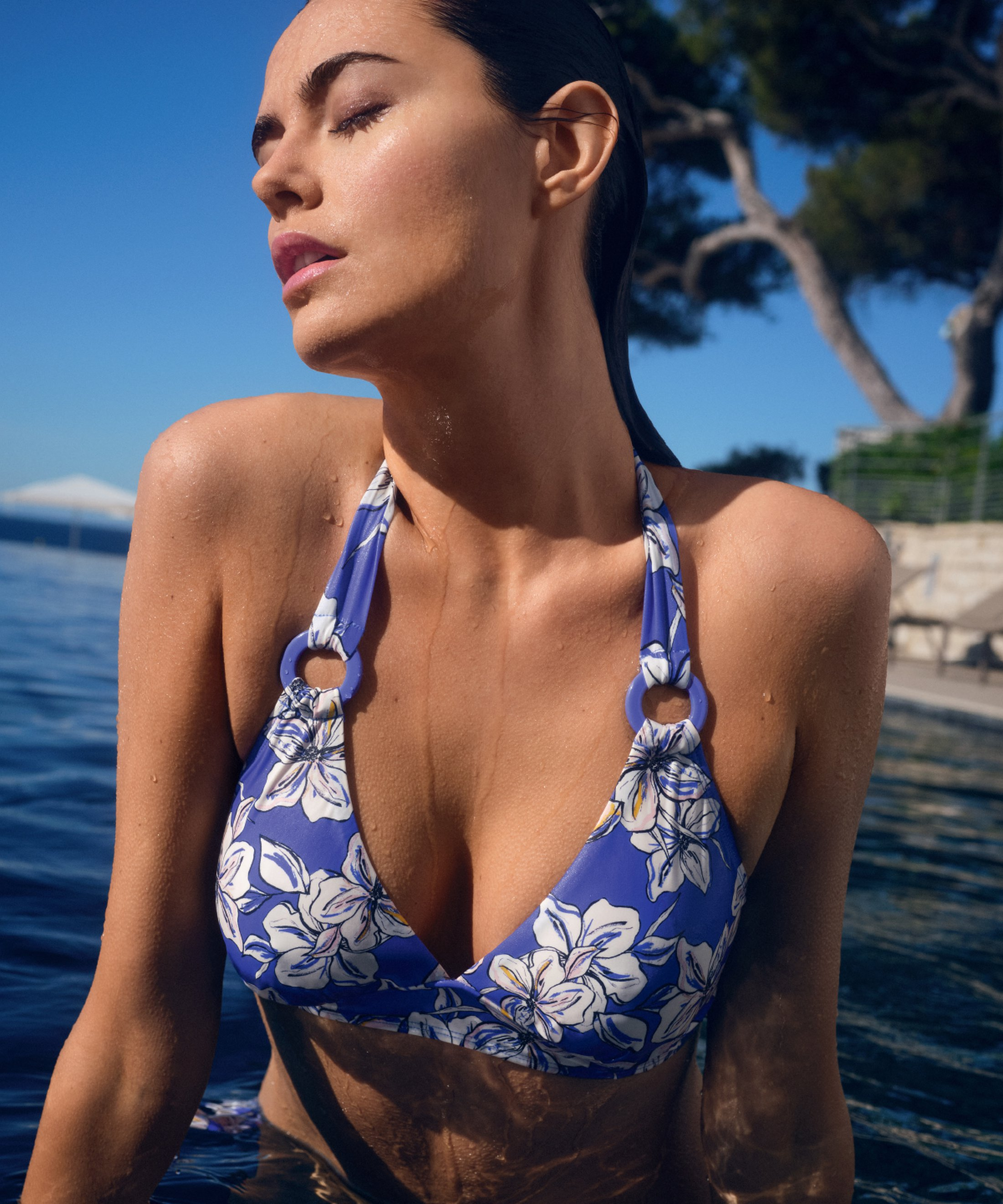 PARFUMS D'ÉTÉ Triangle bikini top Floral Glycine Blue | Aubade