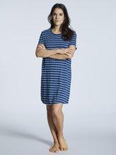 SCHIESSER Sportive Stripes Kurzarm-Nachthemd, Länge 90cm