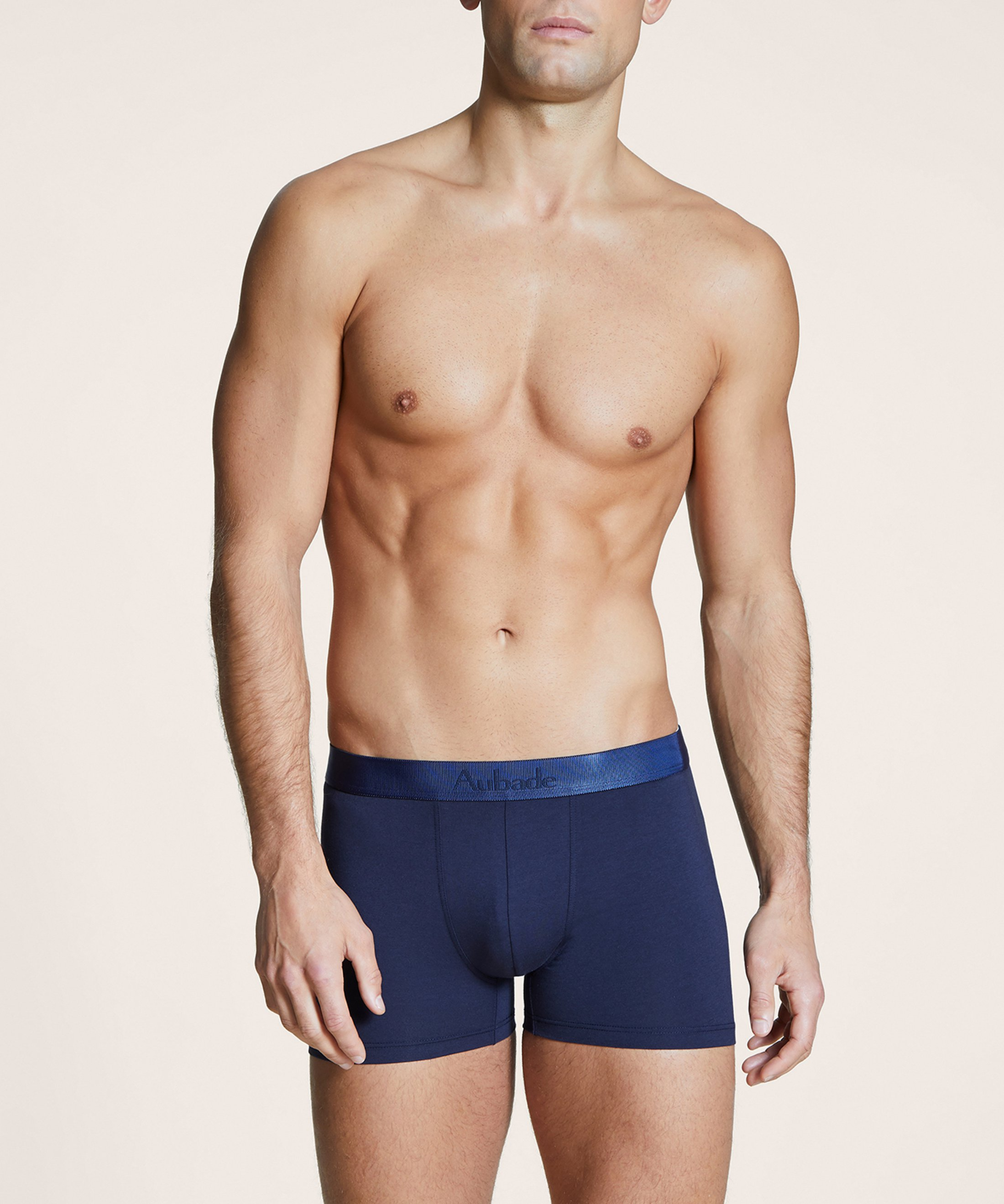 AUBADE HOMME Two boxers pack Red Menottes and plain Navy | Aubade