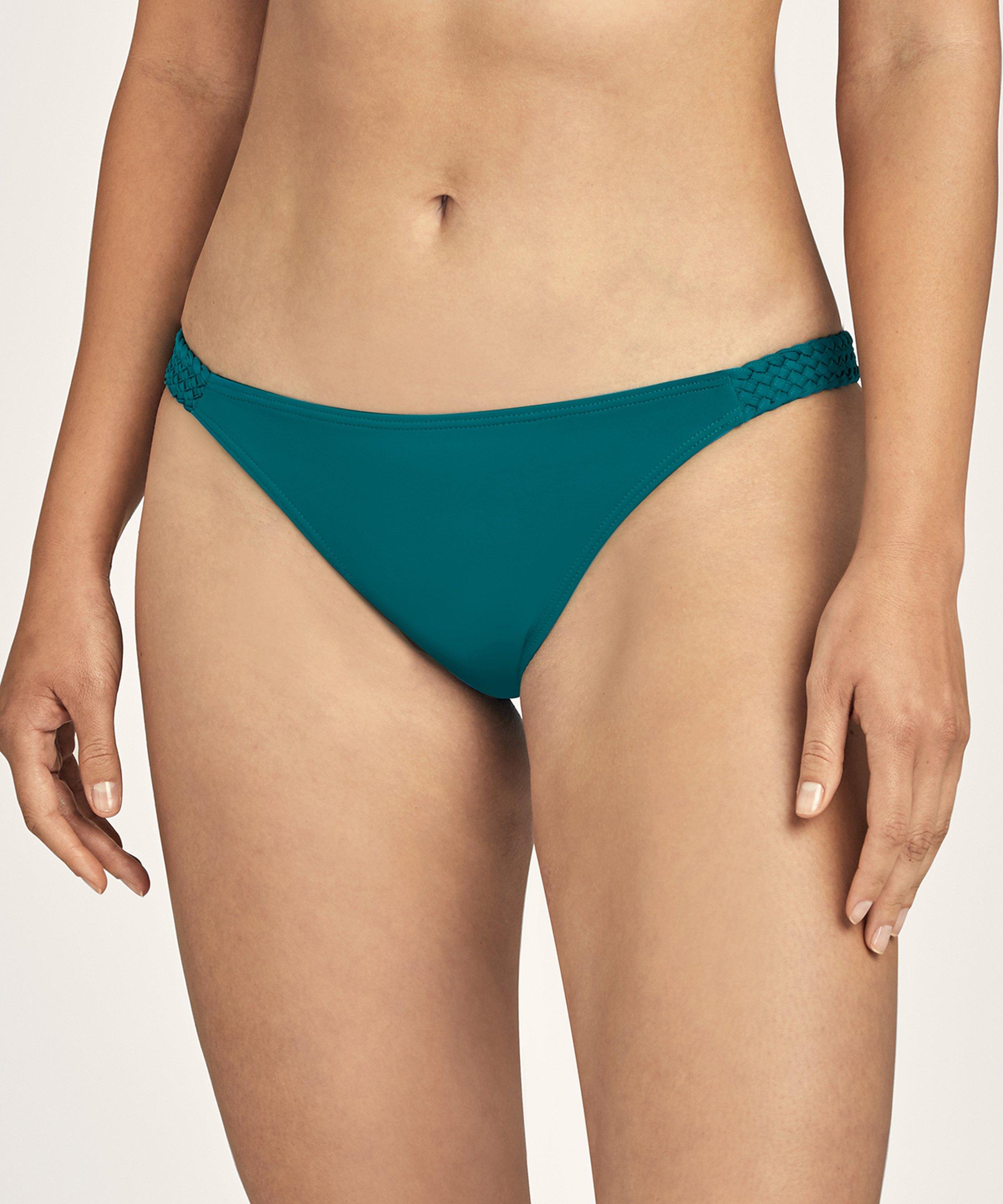 LA PLAGE ENSOLEILLÉE Culotte de maillot de bain Mini-cœur Vert Mineral | Aubade