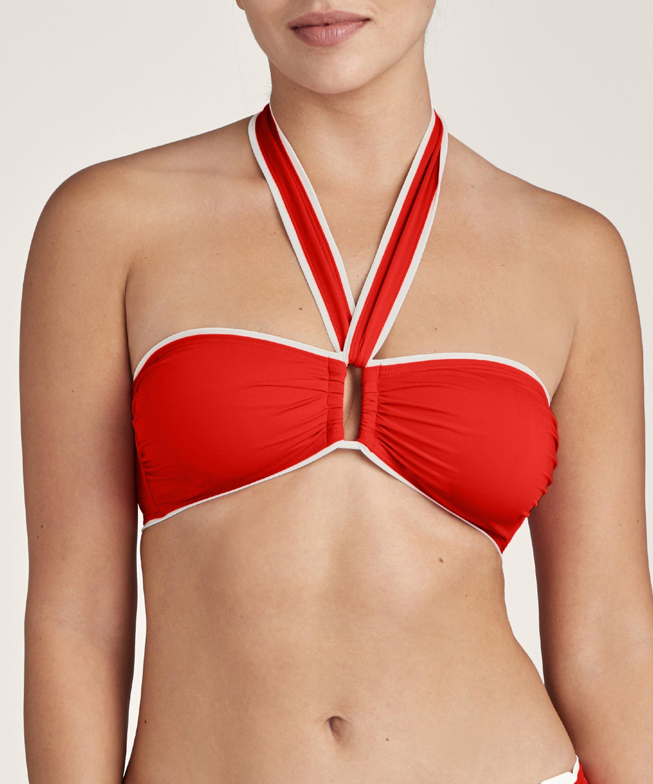 LA BAIE DES VAGUES Haut de maillot de bain bandeau coque amovible Rouge Sanguine | Aubade